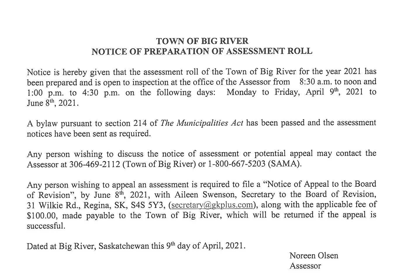 Notice of Preparation of Assessmen Roll 2021